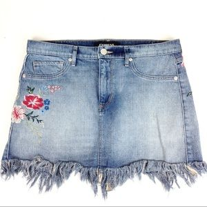 Express Embroidered Denim Skirt 10